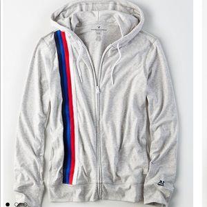 New American Eagle Men's Flex Stripe Zip Up Hoodie